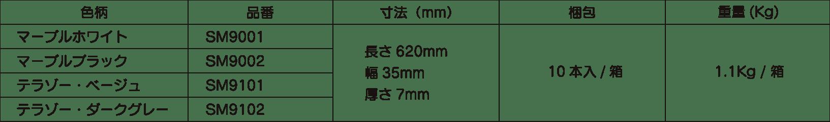 段差見切り材の大理石調サイズ表