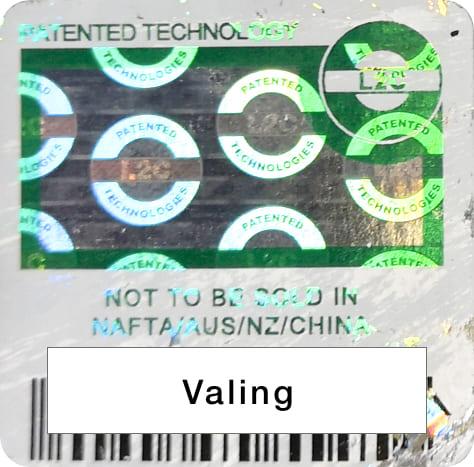 バリング社(Valinge)特許シールの画像